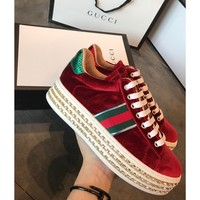 Gucci Ace Platform Velvet Red Sneaker With Crystals