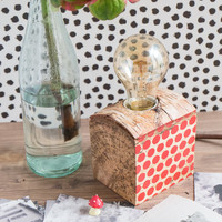 Wood lamp with red polka dots, modern