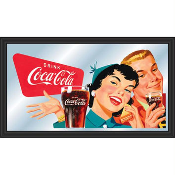 Coca-Cola Vintage Mirror Horizontal Couple Enjoying Coke