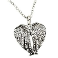 Silvertone Crystal Double Angel Wing Pendant Necklace