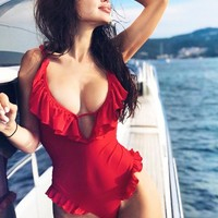 Summer New Fashion Straps One Piece Bikini Swimsuit Red