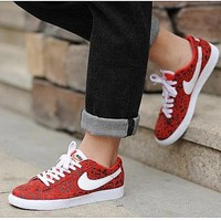 NIKE Trending Fashion Casual Leopard Sports Shoes Red