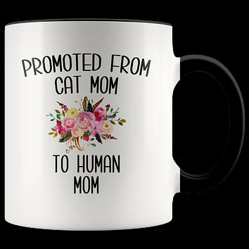 Promoted From Cat Mom To Human Mom Mug New Baby ShowerPregnancy Gift for Her Coffee Cup