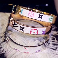 LV Newest Popular Women Cool Louis Vuitton Leather Bracelet Accessories Jewelry