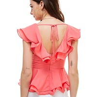 DOUBLE RUFFLES PEPLUM BLOUSE TOP
