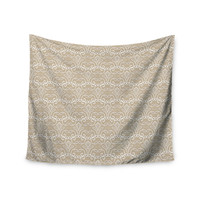 """Julia Grifol """"Soft Deco"""" Brown Tan Wall Tapestry"""