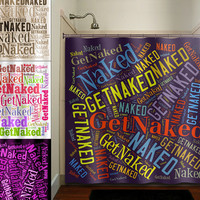 Get Naked Typography Shower Curtain bathroom decor fabric kids bath white black custom duvet cover rug mat window