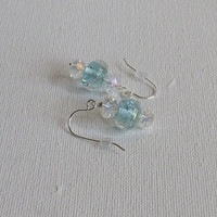 Dichroic Blue Lampwork Earrings, Vintage Crystals and Sterling Silver, Statteam