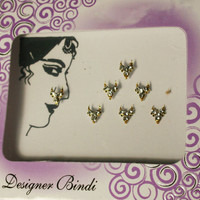 7 Bridal Nose Decoration Diamond Crystals Studded in Golden Background