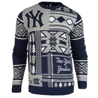New York Yankees Patches Ugly Crew Neck Sweater