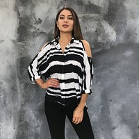 Stripe With Me Cold Shoulder Top
