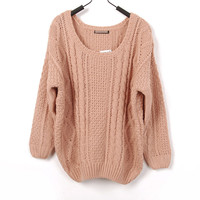 Loose Style Large Round Collar Crochet Knitted Gathered Bottom and Sleeves Sweater
