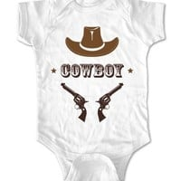 Cowboy with a Hat and Guns baby one piece infant clothing (Newborn, White)