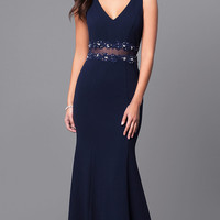 V-Neck Long Prom Dress with Lace Applique Waistband