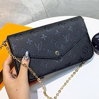Louis Vuitton LV New fashion monogram leather shoulder bag crossbody bag handbag Black