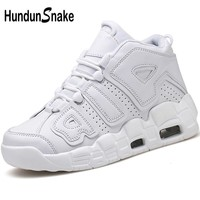 Hundunsnake Leather Men Basketball Shoes White Sneakers Men High Top Basket Shoes Athletic Men Sport Shoes For Male 2018 T499