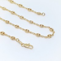 1-1747-g7 Gold Filled Mini Puff Marine Link Necklace.