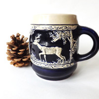 Vintage Coffee Mug, Small German Stein Stoneware Beer Tankard, Stag and Deer, Coffee for Her, Drinking Gift, Hunting Wekara Marzi & Remy