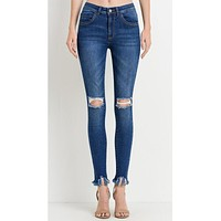 High Waist Mild Distress Cropped Fringe Skinnies