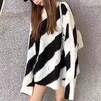 Women Personality Ripped Multicolor Stripe Long Sleeve Mohair Sweater Loose Tops