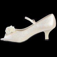 Ivory Open Toe Girls Dress Shoes with Heel & Strap 9T-4Y
