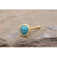 Turquoise 14kt Gold Nose Ring
