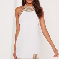 Missguided - Embellished Neck Detail Halter Swing Dress White