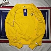 Champion Autumn and winter fashion new bust side embroidery logo women men leisure long sleeve sweater top Yellow