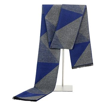 New Designers Winter Warm Scarves For Men Geometric Printed Male Long Grey Tassel