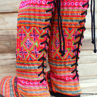 Ethnic Womens Vegan Moccasin Boots in Colorful Rainbow Hmong Embroidery