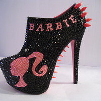 Unique'z — Barbie Spiked/Rhinestone Ankle Booties (BAD BARBIE)