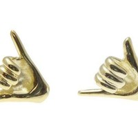 "YELLOW GOLD PLATED 925 SILVER HAWAIIAN ""SHAKA"" HANG LOOSE STUD POST EARRINGS"
