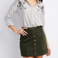 Striped & Embroidered Button-Up Top | Charlotte Russe