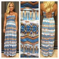 Shores Of The Nile Strapless Maxi Dress