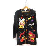 20% OFF SALE...vintage ugly Halloween sweater  // tacky sweater cardigan // holiday party sweater in black / size 1X