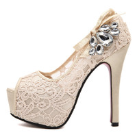 Waterproof Rhinestone Water Proof High Heel Princess Shoes = 4814792580