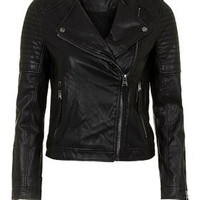 Quilted Faux-Leather Biker - Black