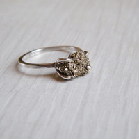 Raw Pyrite Ring, Rough Gemstone Ring, Sterling Silver Gemstone Ring, Alternative Engagement Ring, Made to Order, Custom Size