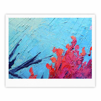 """Carol Schiff """"Coral Reef"""" Coral Teal Painting Fine Art Gallery Print"""
