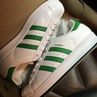 Originals Adidas Superstar Men's Women's Classic Sneaker Sprot Shoes White/Green - BY3722