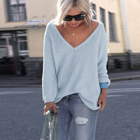 V-Neck Long Sleeve Solid Color Pullover Sweater
