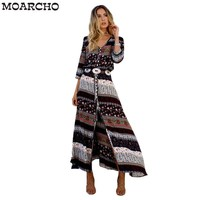 MOARCHO Sexy Women Beach Boho Maxi Dress 2017 Summer High Quality Brand V-neck Print Vintage Long Dresses Feminine casual dressY1882402