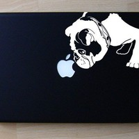 Brit the English Bulldog Sniffs Apple Decal Macbook by IvyBee