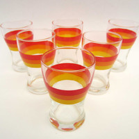French vintage GLASSES⎮1970s sunny red orange & yellow⎮set of 6
