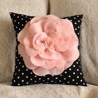 Pink Rose On Black and White Polka Dot Pillow 14 X 14 by bedbuggs