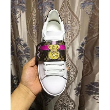 LV Louis Vuitton Fashion Woman Personality Casual Flats Sport Shoes Sneakers White I-ALS-XZ