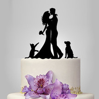 Bride and Groom silhouette wedding Cake Topper with dog and cat,  acrylic Wedding Cake Topper, funny cake topper, romantic couple topper