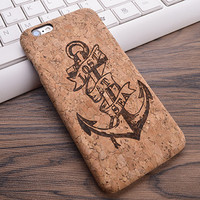 "Retro Vintage Anchor ""Lost at Sea"" Cork Phone Case For iPhone 7 7Plus 6 6s Plus"