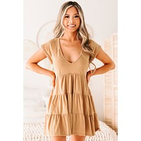 Yvonne Tiered V-Neck Dress (Taupe)