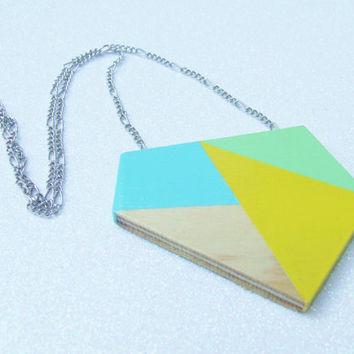 Hand Painted Geometric Wood Necklace - Turquoise Yellow Mint Green - Color Blocking Color Block Color Blocked - Minimalist Geometric
